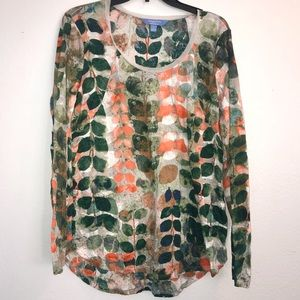 Vera Wang crinkle print in fall colors Sz L